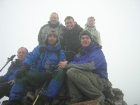 Charlie M, Danny L (front), Mike W, Andy B, Felix (front) and Wilco on summit of Creag Leacach